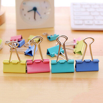 60x Colorful Metal Paper File Ticket Binder Clips 15mm Office School