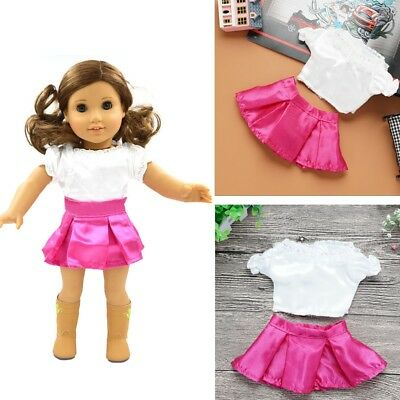 White Lace Blouse +Pink Skirt Set For 18 inch Girl Doll Party Clothing