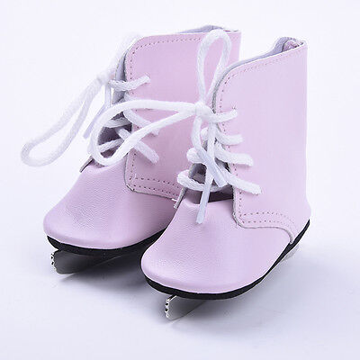 Pink Ice Skate PU Leather Shoes Boots For 18inch American Kids Doll Toy