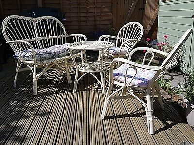 Rare Vintage 1960s/70s Cane Wicker Conservatory Furniture Settee/Chairs & Table