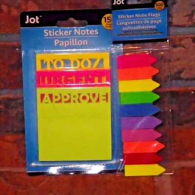 """Jot Sticker Note set - 500 note flags 150 3"""" square To Doz, Urgent, Approve"""