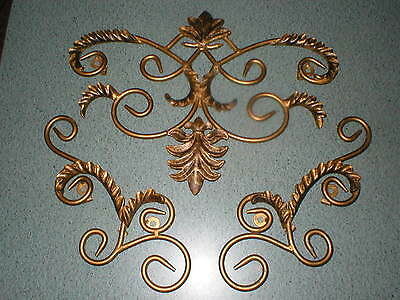 3 Gold/Black Decorative Scroll Wrought Iron Metal Wall Grille Art Plaque Decor