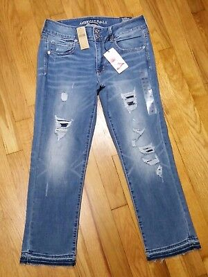 American Eagle Artist Crop Jeans Long Low Rise Distressed Super Stretch NWT