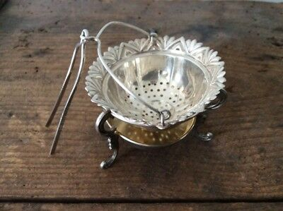 Russian Silver Tea Stainer / Tongs and holder / Sterling Silver / 875 / Russia