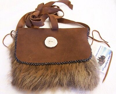Hand Made Beaded Beaver Fur Pouch Rendezvous Black Powder Mountain Man 6