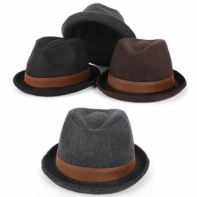 Children Kids Boys Girls Suit Dress Plain Wool Fedora Trilby Bowler Hamburg Hats