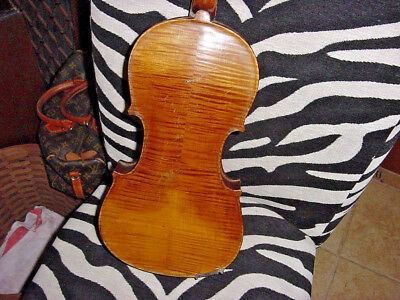 Antique German  Violin 4/4 Full Size And Coffin Case  C 19C Fiddle Great Tiger