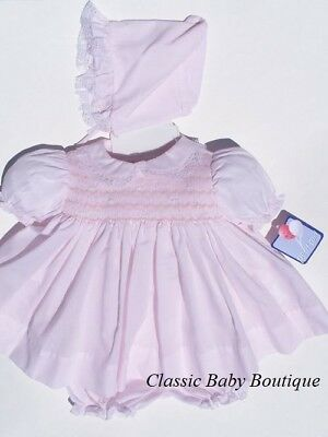 NWT Petit Ami Pink Lace Smocked 3P Dress PREEMIE Reborn Baby Girl w/ Bonnet