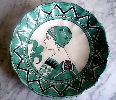 Large DERUTA Wall Charger Italy Teal Green Lady Portrait Hand Painted 29 cm