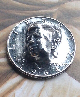 1964 Kennedy Half Dollar Repousse Coin -- pop punched out coin