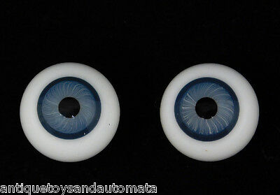 1 PAIR of 15mm BLUE ANTIQUE DOLL ROUND HAND BLOWN HOLLOW GLASS EYES PARTS REPAIR