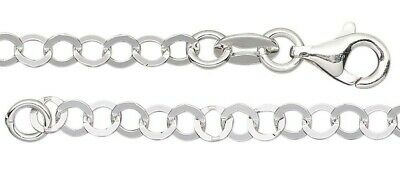 """1 Sterling Silver Oval Bracelet / 7 Inch"""" Long with Lobster Clasp"""