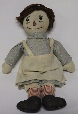 """Pf Volland Co Raggedy Ann 16"""" Doll Cardboard Heart Outlined Nose Antique Good"""