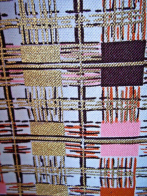 Mid century modern abstract vintage cotton fabric 2 drape or curtain panels!!