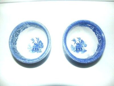 Asian Chinese style small blue and white porcelain cachepot with history design
