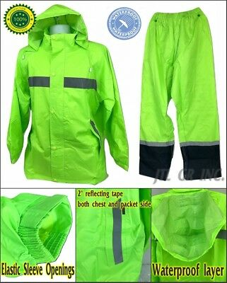 3 in 1 Waterproof High Visible Motorcycle Rain Suit Include Jacket, Hood, Pants