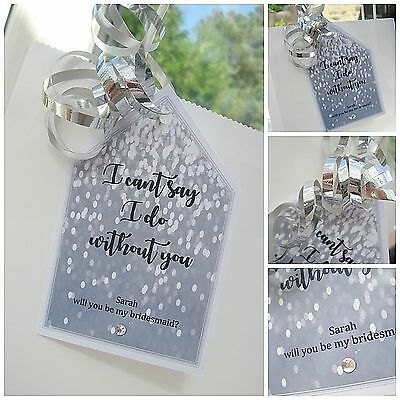 """Personalised SILVER """"Will you be my Bridesmaid"""" crystal gift tag any wording"""