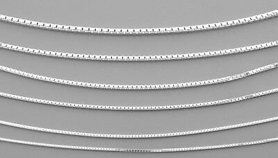 """NEW STERLING SILVER BOX CHAIN NECKLACE 0.8mm - 2mm ALL SIZES 14"""" - 30"""" 925 ITALY"""