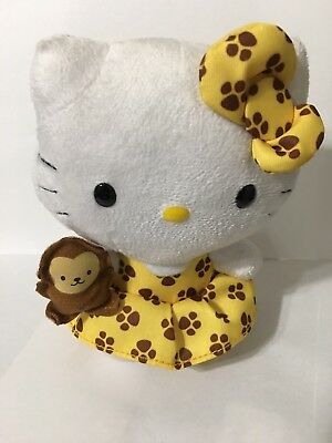 """Ty Beanie Hello Kitty Yellow and Brown Paw Print with Monkey - 6"""""""