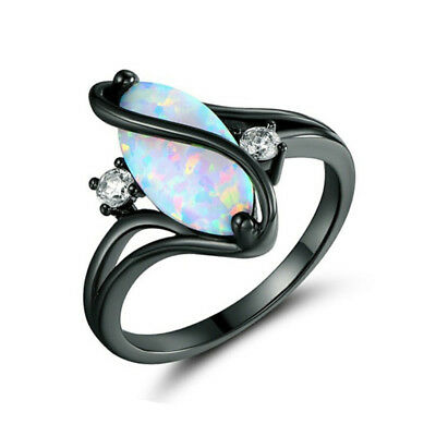 Vintage Black Gold Filled White Fire Opal Charm Ring Wedding Jewelry Size 6-10