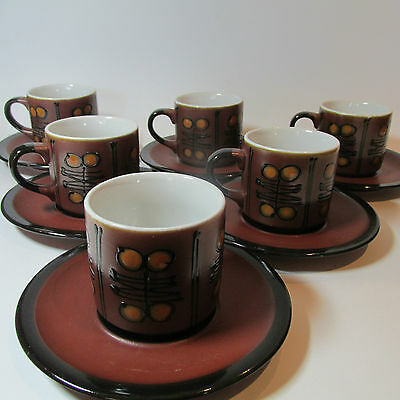 Vintage Retro 1960s Stoneware 6 piece Coffee Cup Set Japan Mid Century Modern