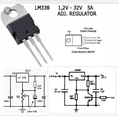 5 pcs LM338T 5 amp. P+ Regulator 1.2 Volt To 32 Volt replaces LM317  USA Seller