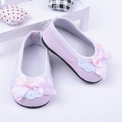 Cute 18 Inch Doll Kids Toys Gift Handmade Pink Lace Bowknot Shoes Pop