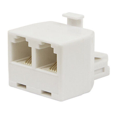 Telephone Line Wall Adapter White Plug To STD-Aus Socket & 6P4C (RJ11)Socket Pro