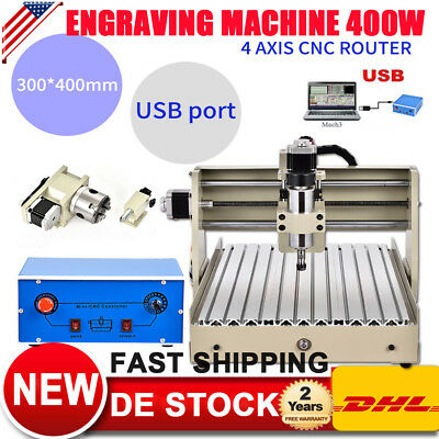 400W USB 4AXIS 3040 CNC ROUTER ENGRAVING MACHINE ENGRAVER 3D CUTTER Metalworking