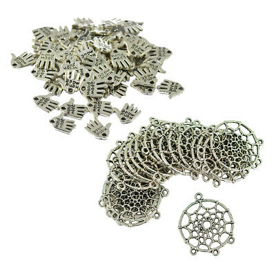 70pcs Indian Dream Catcher & Hand Palm DIY Pendant Connector Charms Beads