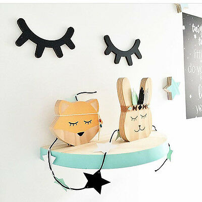 Cute Wooden Eyelash Kid Room Furnishing Wall Decoration Closed Eye Pose Ornament