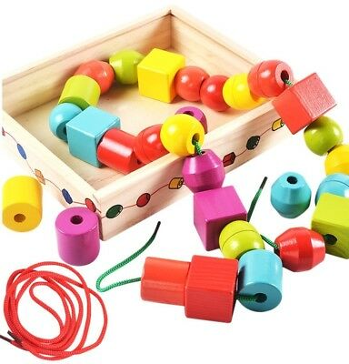 Lewo Wooden Large Jumbo Lacing Beads for Toddlers Montessori Educational Toys 2