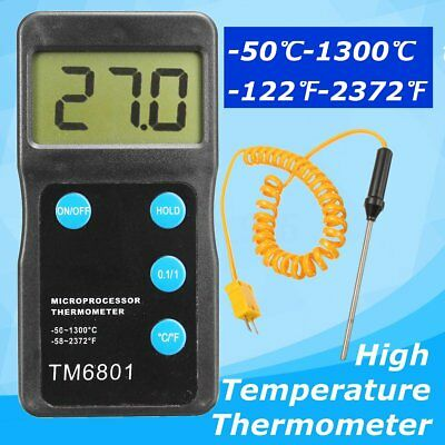 US K Type Black High Temperature Thermometer Pyrometer + Probe Kit 1300℃ 2327℉