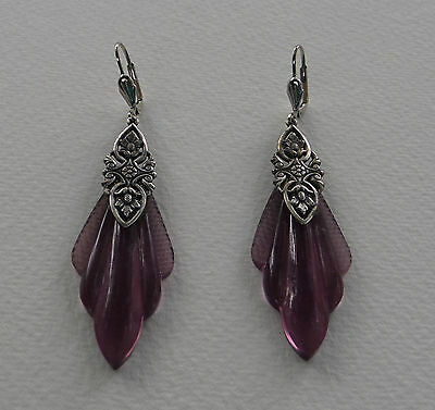 Vintage Purple Glass Drops ... Art Deco Style Silver Plated Earrings Leverback