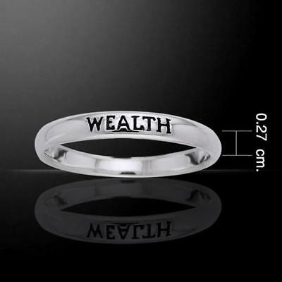 Wealth Sterling Silver Ring - Empowering Words Collection - Size Selectable