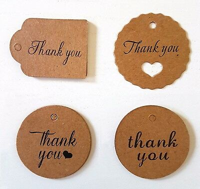 1-100 Kraft Gift Wedding Favour Thank You Tags with String Bonbonniere