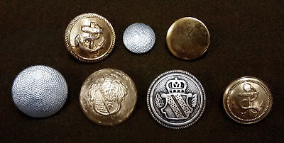 Genuine Military Metal Dress Buttons Assorted Types Germany / France Navy - LOT