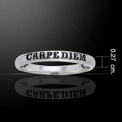 Carpe Diem Seize The Day - Sterling Silver Ring - Size Selectable