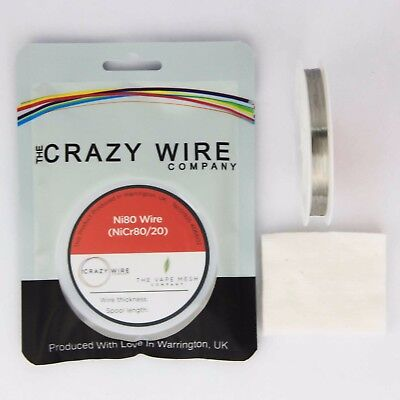 NI80 Nichrome 38 Gauge AWG (0.1mm) Resistance Wire- 33' Roll - 139.87 ohms/m