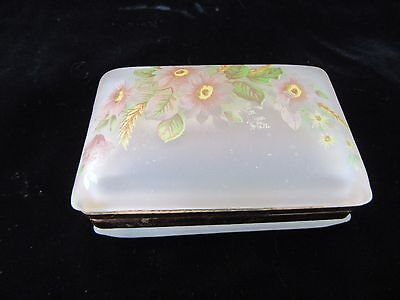 Vintage Frosted White Glass Trinket Jewelry Box with Pink Yellow Flowers