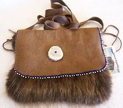 Hand Made Beaded Beaver Fur Pouch Rendezvous Black Powder Mountain Man 11