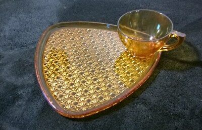 VINTAGE Indiana Glass Golden Amber Antique Daisy & Button Lunch Plate and Cup