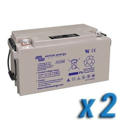 Set 2 x AGM Deep Cycle Battery 110Ah 12V Victron Energy Photovoltaic Camper