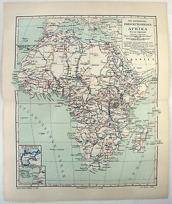 African Explorations: Original 1905 Map by Meyers