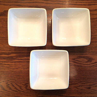 MINT! Set of 3 Laurie Gates TRIBECCA Square Soup Salad Cereal Bowls White Red