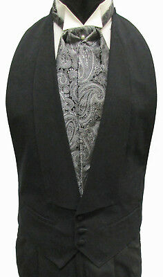 Black 100% Wool Open Back Tuxedo Vest Choice of Bow Tie or Paisley Ascot/Cravat