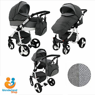 Baby Pram Buggy Stroller 3in1 Pushchair Car Seat Carrycot Travel System LINEN