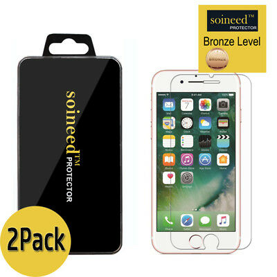 2-Pack SOINEED For iPhone 7 / 7 Plus Tempered GLASS Screen Protector Bubble Free