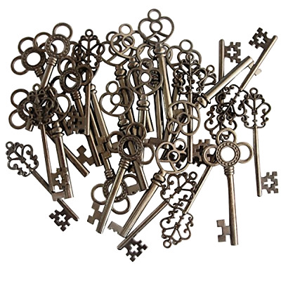 Skeleton Keys Antique Vintage Style Large in Gunmetal Black Finish 30 Key Set .