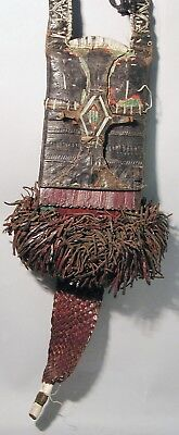 Tuareg Fringes African Leather Pouch Traditional Wearable Relic Bag Wall Decor